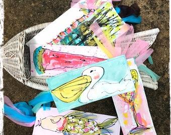 Custom Hand Painted Canvas Bookmark Made to Order YelliKelli