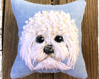 Freehand Embroidered Mini Pillow with Your Dog Made to Order YelliKelli
