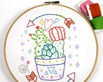 Cactus Planter. Hand Embroidery. Digital Pattern. Sewing. PDF Pattern. Succulent. Plant Lover. Plant Design. Cacti. Southwestern. Hoop Art