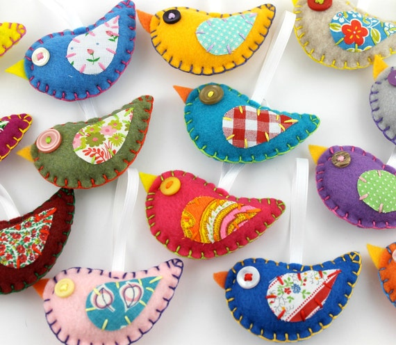 Christmas Tree Shaped Ornaments Are Handmade From 100 Recycled Eco Friendly Felt Hand: Felt Bird Ornaments. Wholesale Lot Of 8. Vintage Fabric
