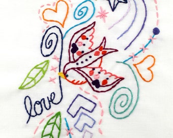 Tattoo Bird Embroidery Pattern. PDF Pattern. Digital Pattern. Hand Embroidery. Love Bird. Embroidery Designs. Doodle. Modern embroidery.