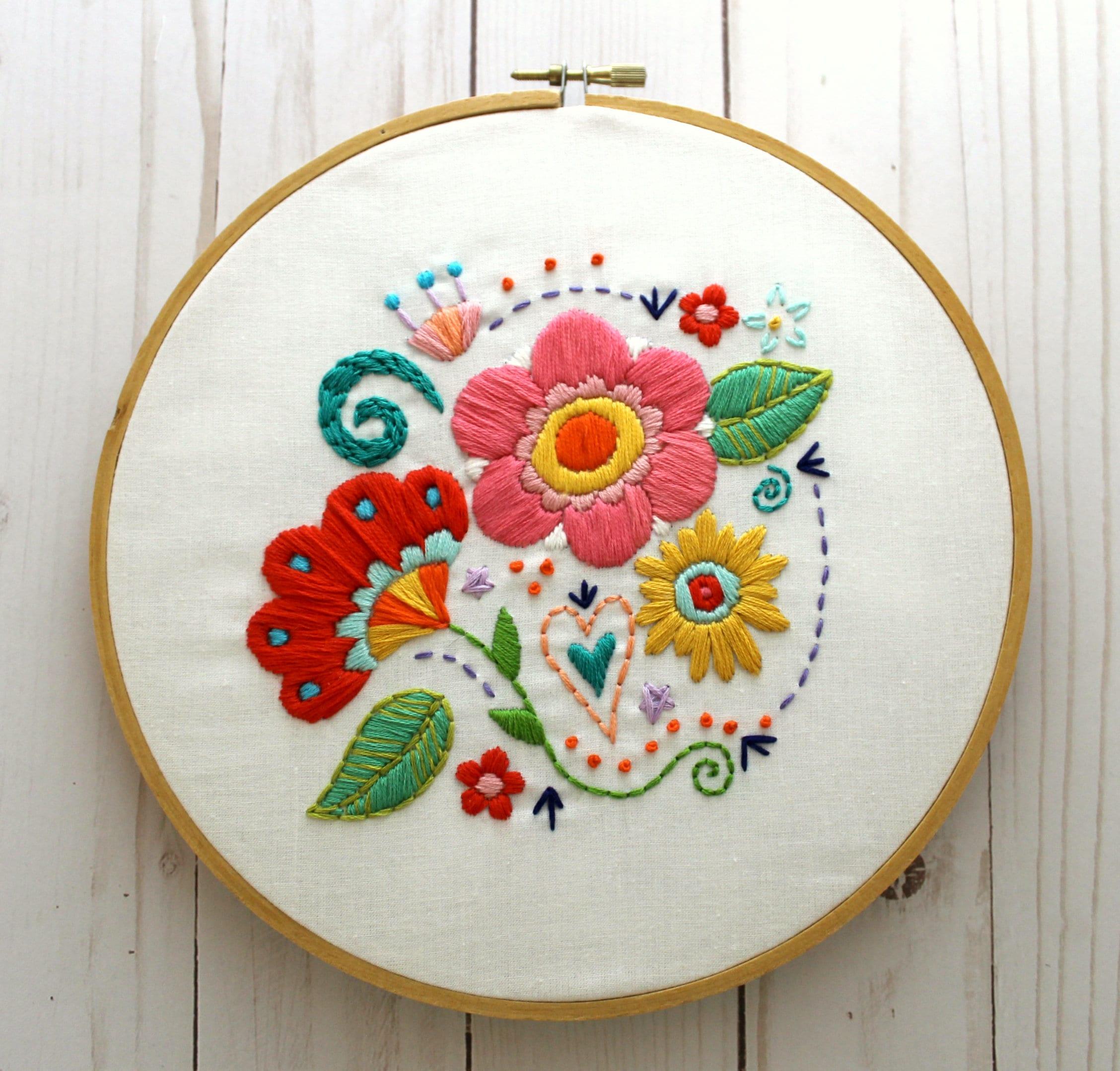 Flower Embroidery Pattern. Floral Embroidery Design. Hand Embroidery. PDF  Pattern. Hoop Art. Retro Modern. Boho Flowers. Flower Pattern.