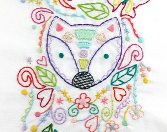 Woodland Fox. Embroidery Pattern. Digital Pattern. PDF Pattern. Hand Embroidery. Forest Creatures. Doodles. Flowers. Leaves. Embroidery Hoop