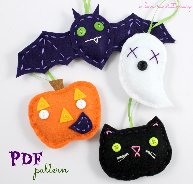 Felt Halloween Ornaments Pdf Pattern Halloween Crafts