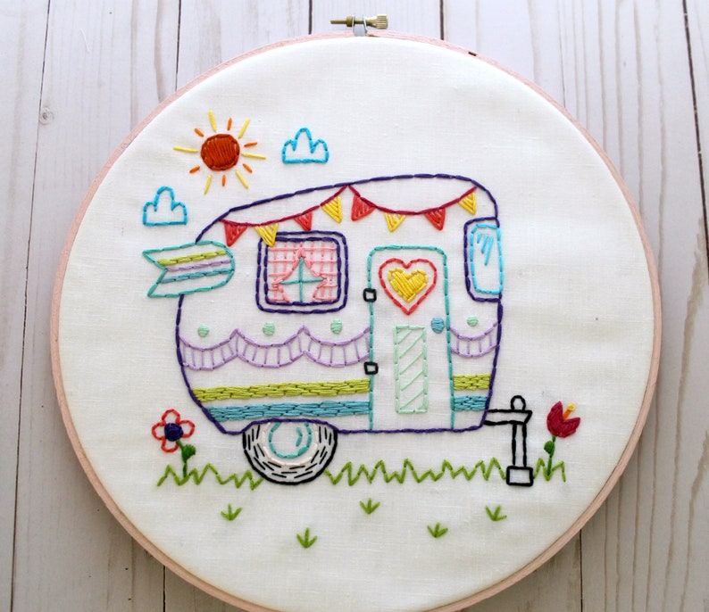 Retro Camper  Hand Embroidery Pattern  PDF Pattern  Summer  Camping   Travel  Road Trip  Embroidery Designs  Vintage Camper  Happy Camper