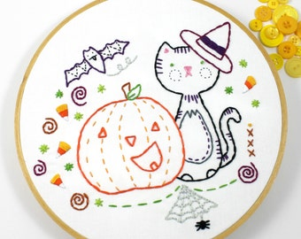 Happy Halloween Embroidery Pattern Black Cat Pumpkin Digital Candy