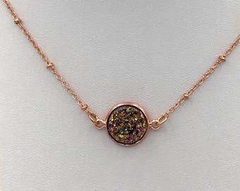 Rose gold Druzy Choker Necklace, rose gold necklace, silver druzy, Faux Druzy Necklace, Druzy Pendant, Boho Jewelry, Druzy Necklace