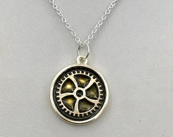 Steampunk gear pendant necklace, gear necklace,