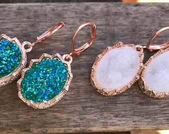 Rose gold Druzy earrings, rose gold earrings, rose gold druzy, Faux Druzy earrings, Druzy Pendant earrings, Boho Jewelry, Druzy earrings