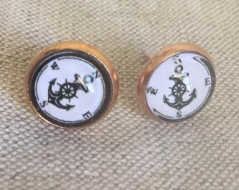 anchor stud earrings, Rose Gold Earrings, Anchor Earrings, beach jewelry, nautical earrings, anchor stud earrings, rose gold anchor earrings