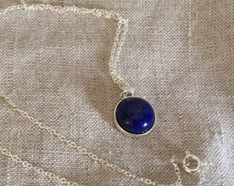 Lapis lazuli Necklace, navy blue gemstone necklace, bridal jewelry