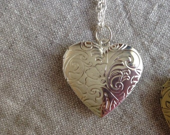 Heart Locket necklace, Photo Locket necklace, silver heart locket, Mother's Day Gift, vintage style locket, floral design locket necklace