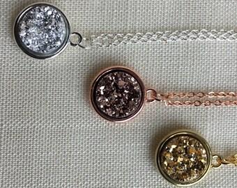 Metallic Druzy Necklace/ sparkly rose gold necklace/ Druzy jewelry/ Faux Druzy Necklace/ Druzy Pendant, Boho Jewelry, Druzy Necklace