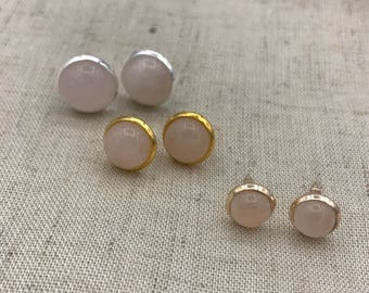 Rose Gold rose quartz earrings, Rose Quartz Earrings, Rose Gold Stud Earrings, Bridal Jewelry Rose Quartz Rose gold earrings stud earrings,