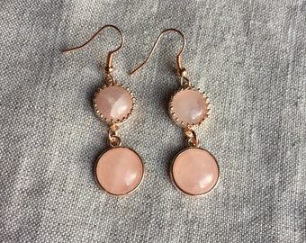Rose Gold Earrings, Rose Quartz Earrings, Rose Gold Leverback Earrings, Bridal Jewelry
