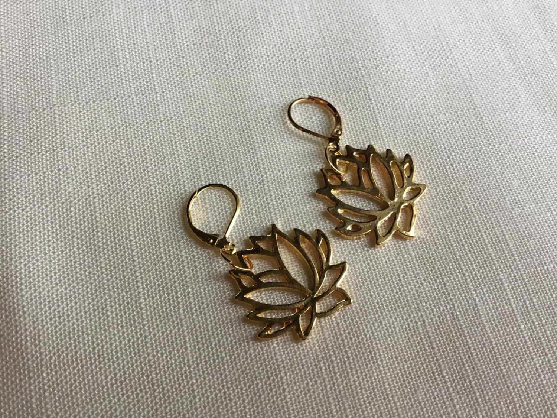 Rose Gold Lotus Flower Earrings Jewelry Bridesmaid Gift Lotus Jewelry