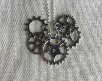 Steampunk Gear Necklace, Steampunk Jewelry, Gear Jewelry, steampunk wedding, industrial jewelry