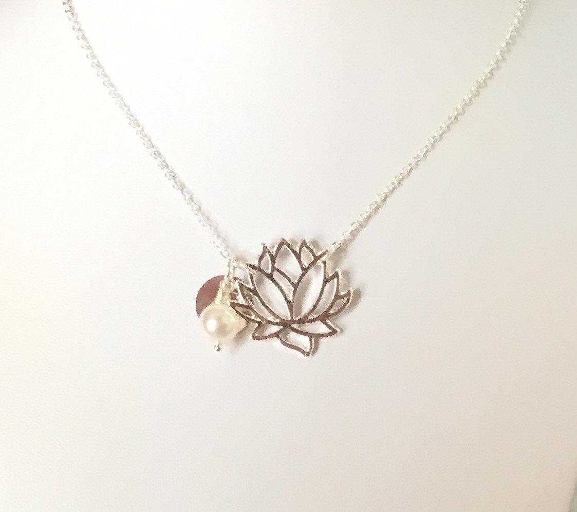 Lotus Necklace Yoga Jewelry Lotus Flower Jewelry Lotus Pendant