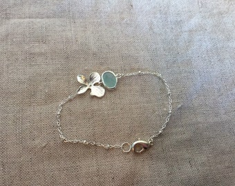 Silver Orchid Bracelet with turquoise crystal, bridal jewelry,