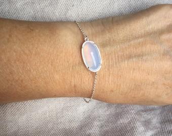 Crystal Opalite and silver Bracelet, Opalite Bracelet, Opalite Jewelry