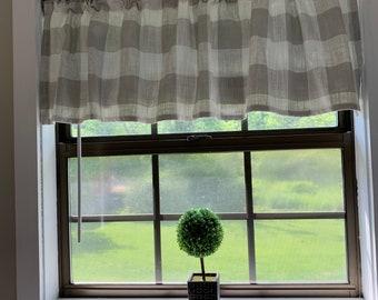 Grey and White Buffalo check valance Premier Prints farmhouse curtain