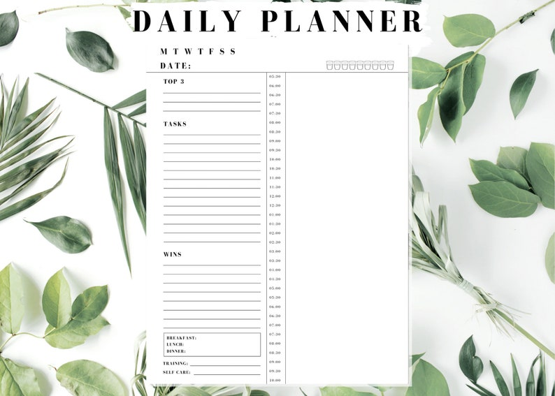 Daily Planner Printable Inserts  3 Options  Letter A4 A5 image 0