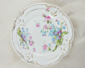 Vintage Ornate Decorative Lavender Blue Floral Plate