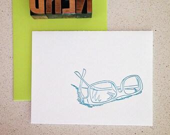 Nerd glasses letterpress card