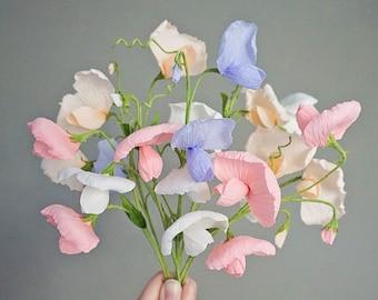 Sweet Pea Vine: Handmade Crepe Paper Flowers