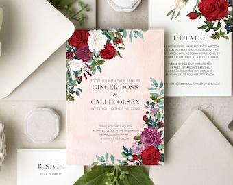 Romantic Roses Watercolor Invitation Suite