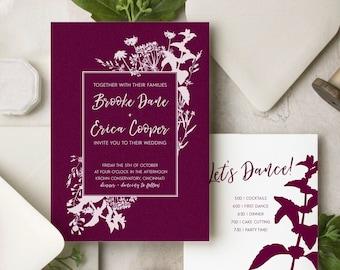 Wildflower Silhouette Luxury Wedding Invitations — White Ink on Navy, Black, Kraft or Burgundy Paper