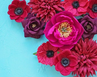 Red and Burgundy Paper Floral Styling Kit: Photography props, props for flat lays, professional photographer, wedding kit