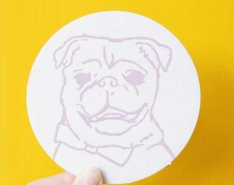 Custom Pet Portrait One Color Letterpress Coasters