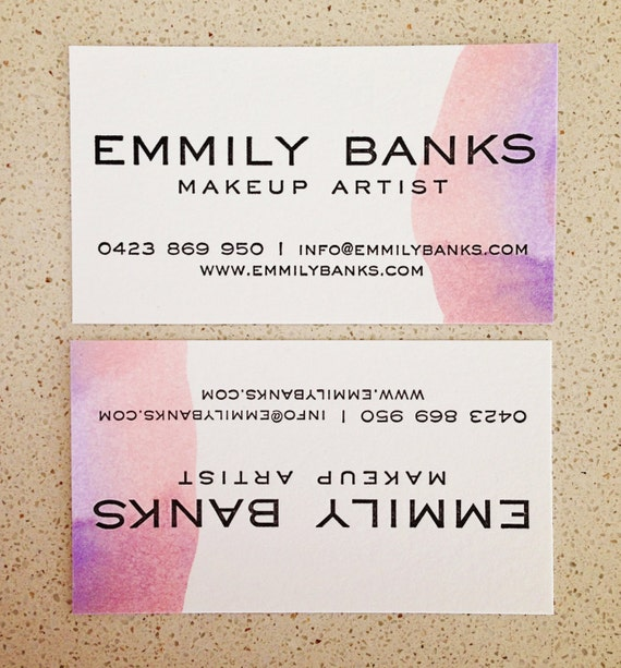 Hand painted watercolor letterpress business cards etsy image 0 colourmoves
