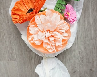 Custom Handmade Paper Posy: Poppy & Peony Summer Garden Flower Bouquet — customize for Mother's Day, birthday, thinking of you