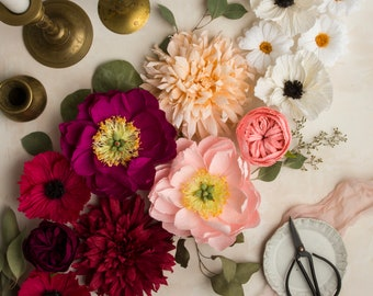 Pink and White Paper Floral Styling Kit: Photography props, props for flat lays, professional photographer, wedding kit