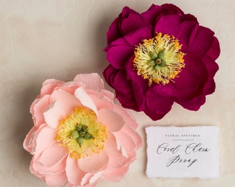 Coral Charm Peony: Handmade Crepe Paper Flower