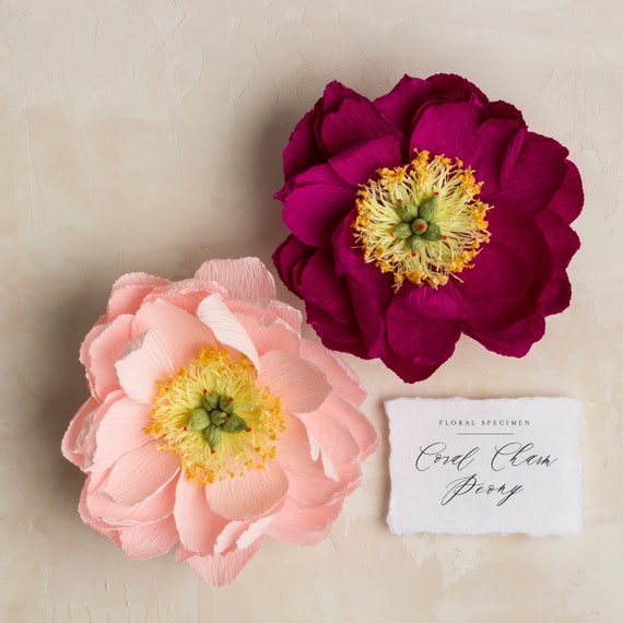 Coral charm peony handmade crepe paper flower etsy image 0 mightylinksfo