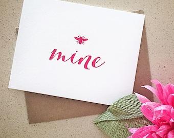 Bee mine letterpress Valentine's Day card