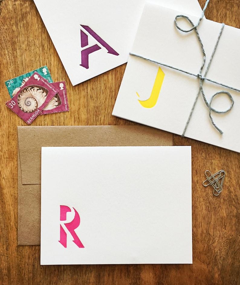 Custom shadow monogram letterpress stationery image 0