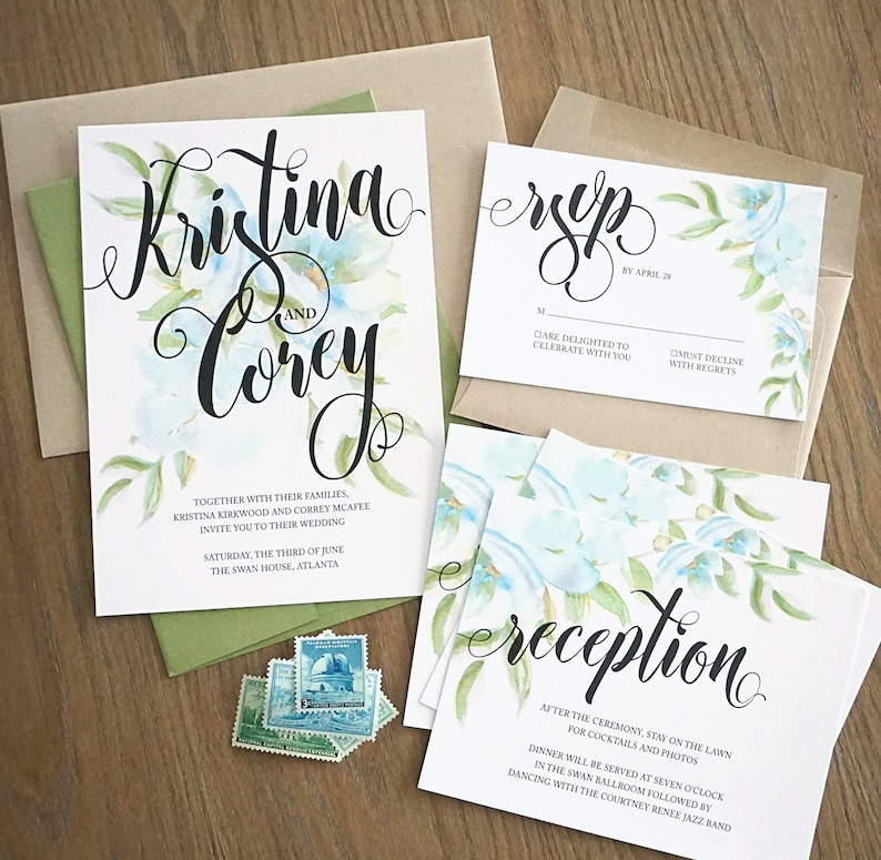 Blue Watercolor Floral /& Brush Lettering Wedding Invitations