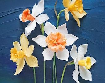 Spring Narcissus/Daffodils: Handmade Crepe Paper Flower