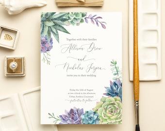Watercolor Succulents Modern Wedding Invitations