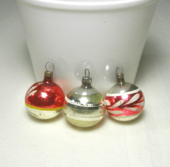 Early German Feather Tree Christmas Ornaments Antique 1930s Set Of 3 Sweet Vintage Blown Glass Mercury Glass Stencil Decorations