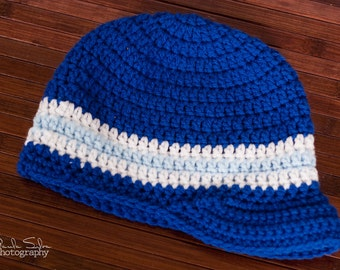 Crochet Visor Beanie - Available in sizes newborn to adult