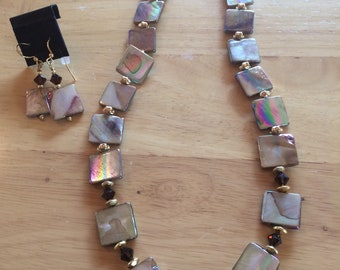 Brown Iridescent and Swarovski Crystal Necklace and Earring Set