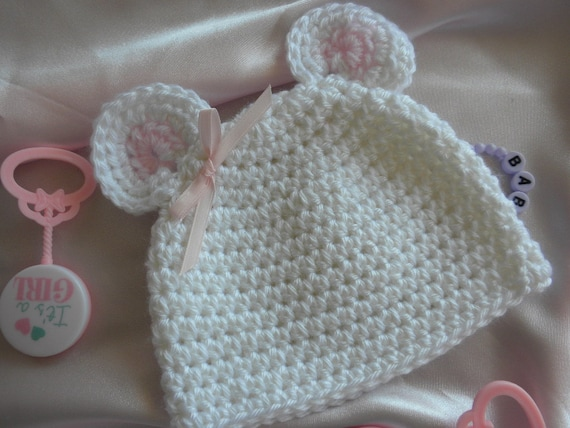White Crocheted Mouse Hat, Crocheted Baby Hat, Baby Girl Mouse Hat, Baby  Hat with Ears, Photo Prop Baby Hat, Newborn Baby Beanie with Ears