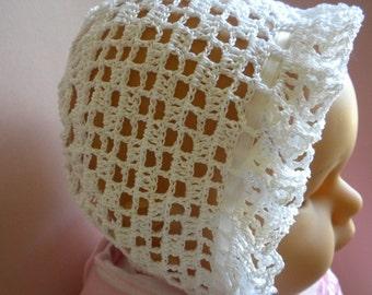 Christening Bonnet, Crochet Christening Bonnet, Crochet Baby Bonnet, Heirloom Baby Bonnet, Lacy Baby Bonnet, Blessing Bonnet, Newborn Bonnet