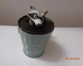 "Disney's Grey Raccoon Figure Small Plastic Toys Cake Topper 1"""