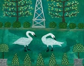 Trumpeter Swans and Obelisk, original watercolor painting